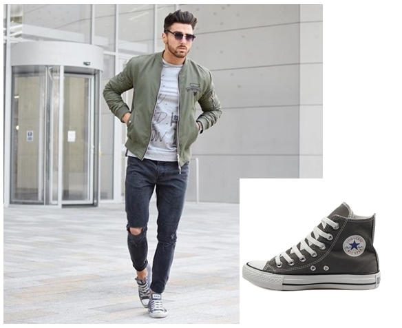 Phối đồ cùng giày Converse cao cổ cho nam