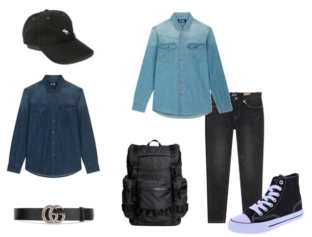 Sơ mi denim và quần jeans đen