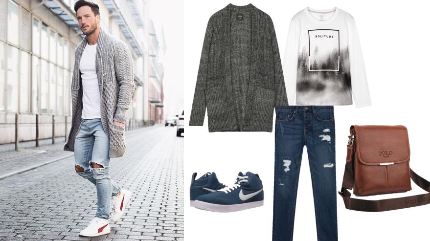 Phối quần jeans rách nam với áo len cardigan