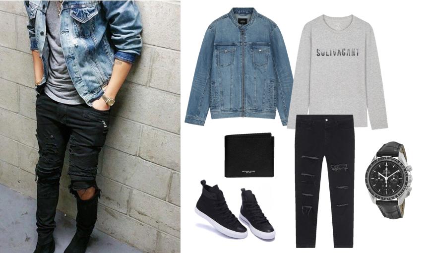 Phối quần jeans rách nam với áo khoác jeans