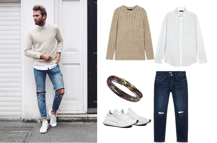 Phối quần jeans rách nam với áo len
