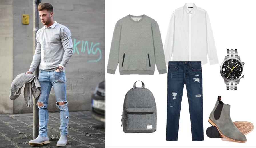 Phối quần jeans rách nam với áo nỉ cồ tròn