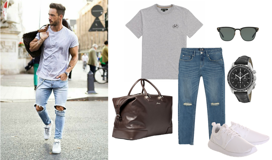 Phối quần jeans rách nam với áo phông
