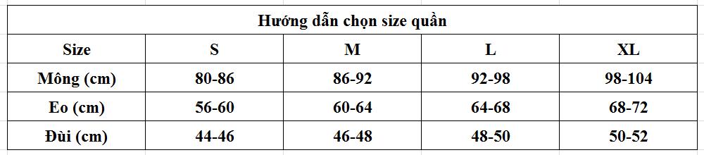 bảng size quần lót cho nữ