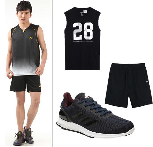 Áo thun đen không tay và quần short thể thao – chàng trai năng động khi đến phòng tập.
