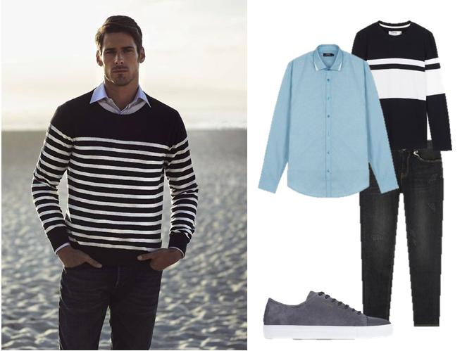 Áo thun dài tay đen phối layer cùng áo sơ mi và quần jeans – sự pha trộn hài hòa giữa nét đẹp trẻ trung, hiện đại và lịch sự, cổ điển.