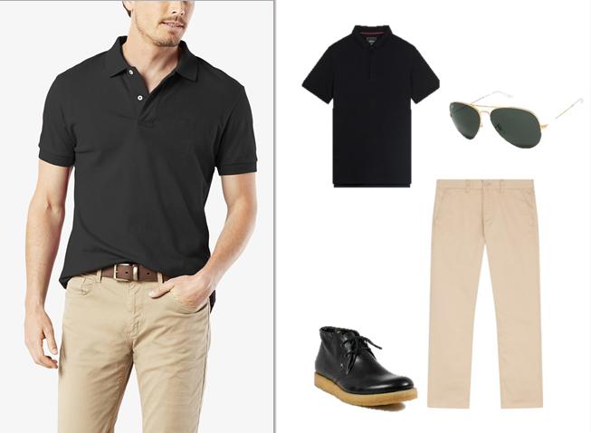 Áo polo đen và quần kaki dáng dài: Chàng thoải mái khi đến công sở.