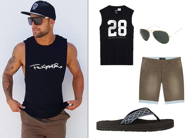 Áo thun đen ba lỗ mix cùng quần short: Lựa chọn hoàn hảo cho các chàng trai khi đến bãi biển hoặc tụ tập bạn bè.
