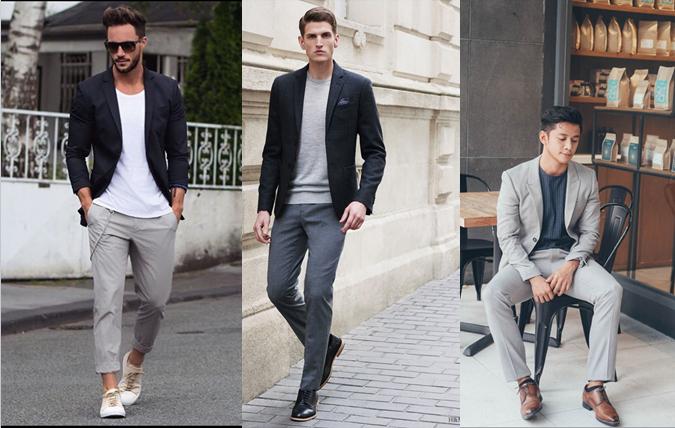 Quần âu nam màu xám và vest