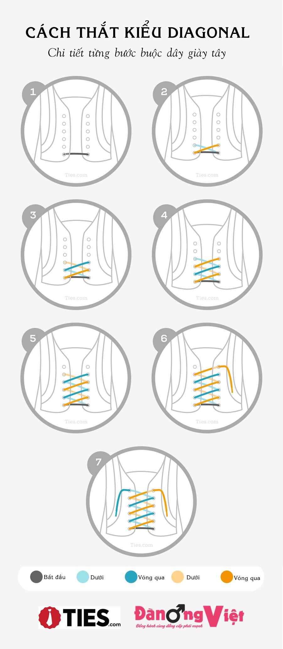 cách thắt dây giày tây