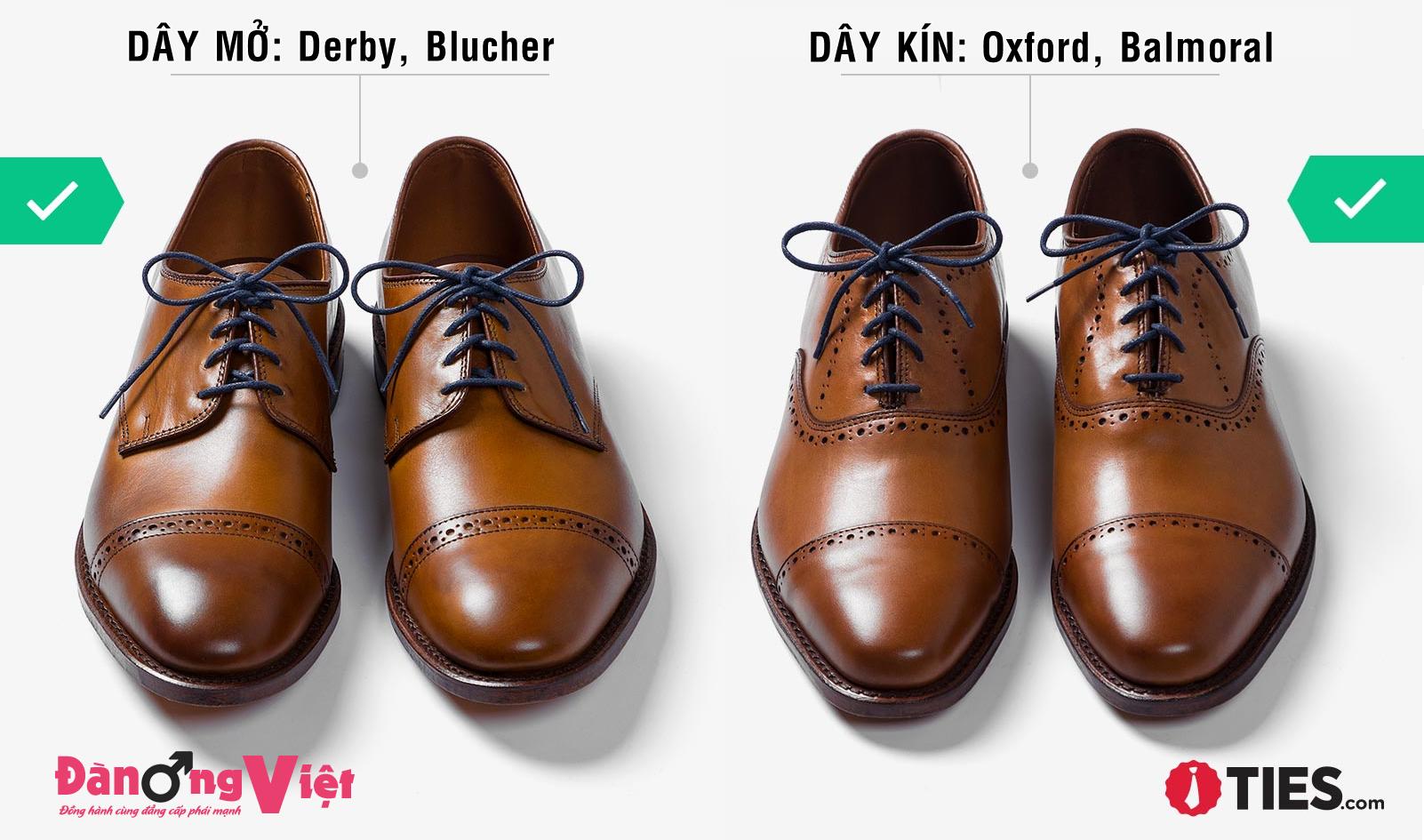 cách xỏ dây giày tây