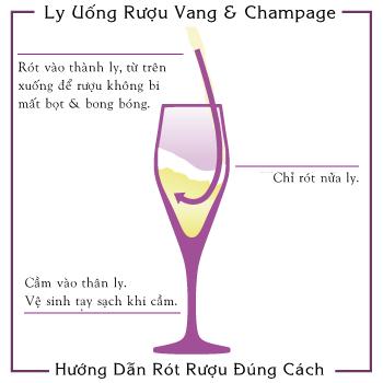 Cách rót và sử dụng ly rượu vang và sâm-panh