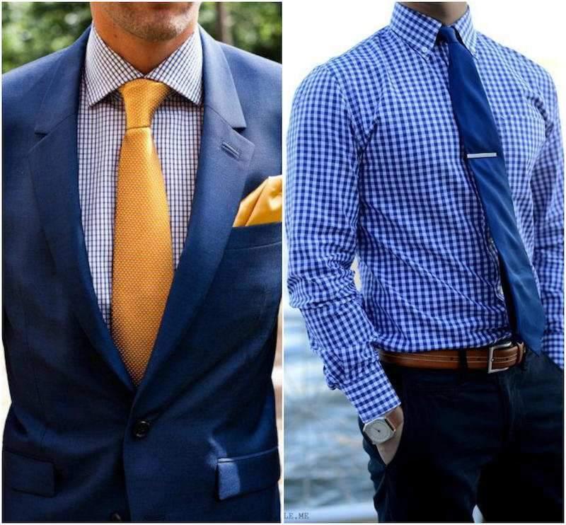 Áo sơ mi xanh và cà vạt có họa tiết