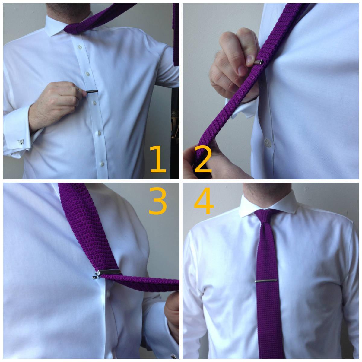 Cách cài kẹp cà vạt
