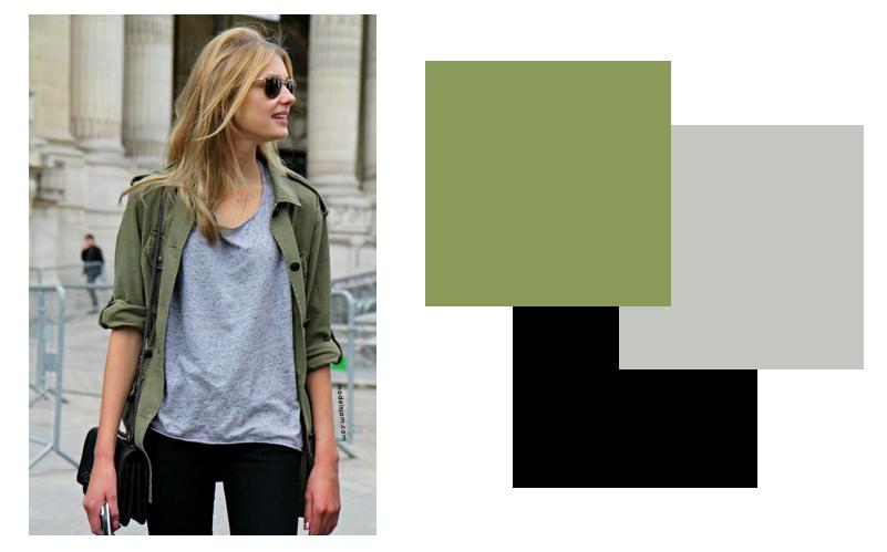 Cách kết hợp quần áo màu xanh rêu cho nữ