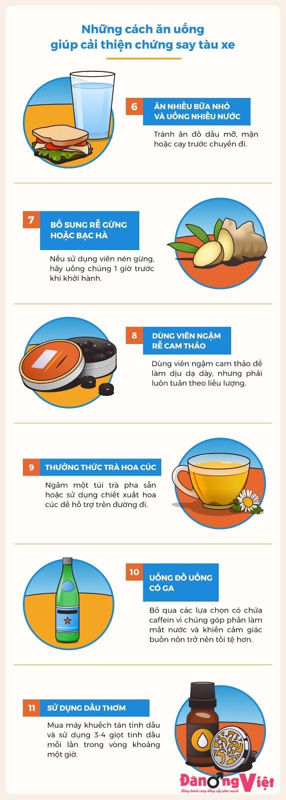 Nên ăn và uống gì khi bị say tàu xe